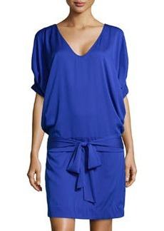Diane von Furstenberg Edna Woven Tie-Waist Dress, Blue Jay