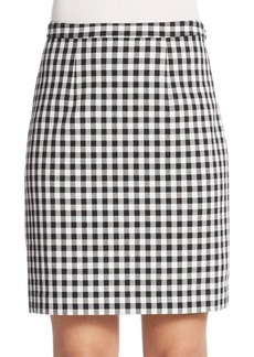 Diane von Furstenberg Eliza Checked Pleat-Back Skirt