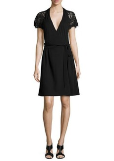 Diane von Furstenberg Elizabeth Lace-Sleeve Wrap Dress  Elizabeth Lace-Sleeve Wrap Dress