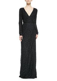 Diane von Furstenberg Elle Long-Sleeve Embellished Column Gown