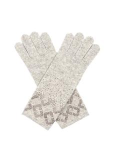 Diane Von Furstenberg Embellished wool and cashmere-blend gloves