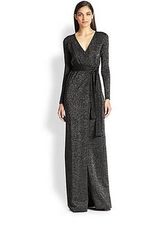 Diane von Furstenberg Emma Metallic Maxi Wrap Dress