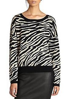 Diane von Furstenberg Estelle Wool Zebra-Stripe Dolman Sweater