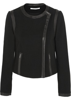 Diane von Furstenberg Esther leather-trimmed stretch-crepe jacket
