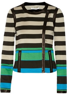 Diane von Furstenberg Esther striped leather-trimmed jersey jacket
