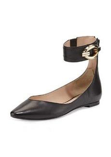 Diane von Furstenberg Evie Leather Ankle-Wrap Ballet Flat, Black