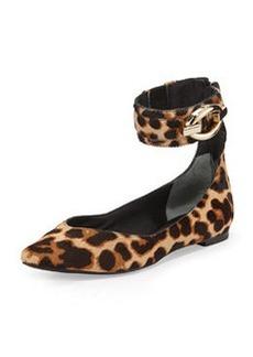Diane von Furstenberg Evie Leopard-Print Calfhair Ballet Flat, Black/Leopard