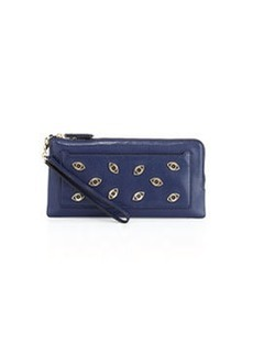 Diane von Furstenberg Evil Eye-Front Clutch Bag, Dark Night