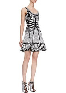 Diane von Furstenberg Fanny Sleeveless Fit-and-Flare Dress, Zebra Tattoo
