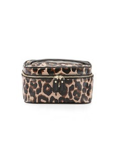 Diane von Furstenberg Faux-Leather Leopard-Print Cosmetic Bag, Black/Brown