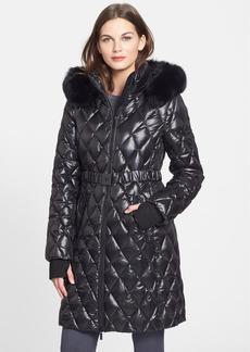 Diane Von Furstenberg 'Faye' Quilted Down Coat with Genuine Fox Fur