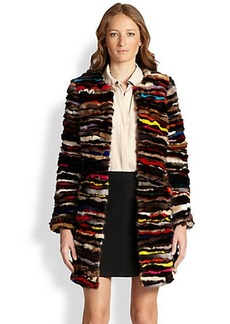 Diane von Furstenberg Finale Multicolor Shirred Mink Coat