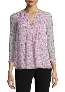 Diane von Furstenberg Fleur Silk Multipattern Top