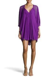 Diane von Furstenberg Fleurette Flutter-Sleeve Dress, Purple