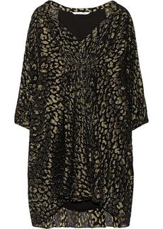 Diane von Furstenberg Fleurette metallic leopard-jacquard and silk-chiffon dress