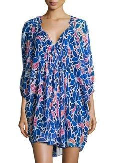 Diane von Furstenberg Fleurette Printed Chiffon 3/4-Sleeve Dress