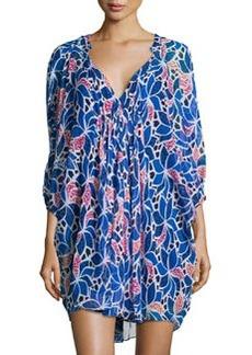 Diane von Furstenberg Fleurette Printed Chiffon 3/4-Sleeve Dress, Ocelot Floral Multi