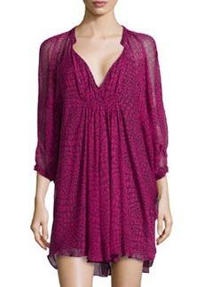Diane von Furstenberg Fleurette Silk Chiffon Dress, Dotted Snake Pink