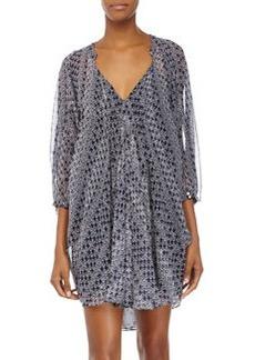 Diane von Furstenberg Fleurette Silk Chiffon Dress, Moroccan Ditsy Midnight