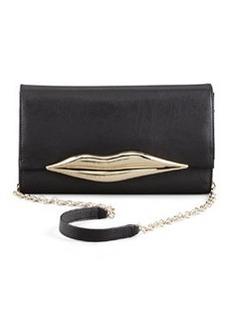 Diane von Furstenberg Flirty Leather Clutch Bag, Black
