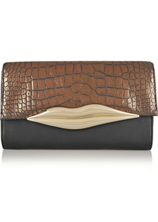 Diane von Furstenberg Flirty metallic croc-effect leather clutch