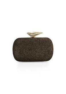 Diane von Furstenberg Flirty Metallic Minaudiere Evening Clutch Bag, Black/Gold