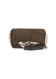 Diane von Furstenberg Flirty Mini Glitter Crossbody, Black