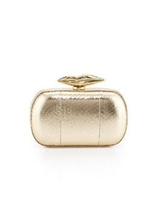 Diane von Furstenberg Flirty Snake-Leather Minaudiere Evening Clutch Bag, Gold