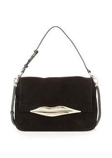 Diane von Furstenberg Flirty Suede Shoulder Bag, Black