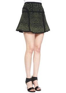 Diane Von Furstenberg Float-Flowy Leopard-Print Miniskirt, Olive Green Nite/Black