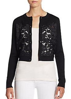 Diane von Furstenberg Floral Lace-Inset Cropped Cardigan