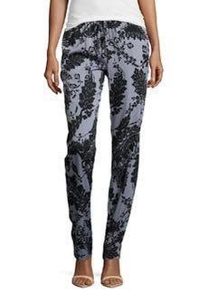Diane von Furstenberg Floral Lace-Print Jumpsuit Pants, Black
