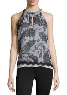 Diane von Furstenberg Floral Lace-Print Silk Halter Blouse, Black