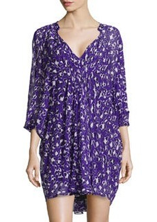 Diane von Furstenberg Floral-Print Silk Dress, Purple