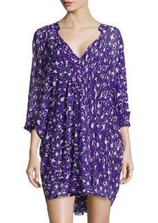 Diane von Furstenberg Floral-Print Silk Dress, Purple