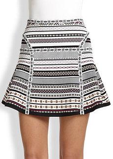 Diane von Furstenberg Flote Printed Flared Stretch Knit Skirt