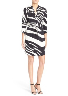 Diane von Furstenberg 'Freya' Zebra Stripe Stretch Silk Shirtdress