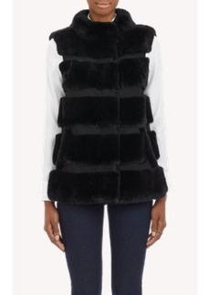 Diane von Furstenberg Fur & Suede Stripe Vest