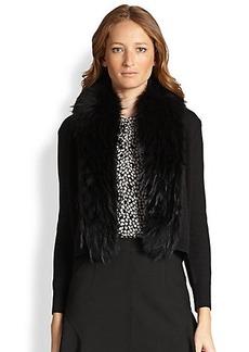 Diane von Furstenberg Fur-Trimmed Cropped Cardigan