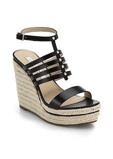 Diane von Furstenberg Gabby Espadrille-Wedge Leather Sandals