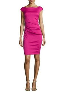 Diane von Furstenberg Gabi Asymmetric Gathered Slim Dress, Pink Dhalia