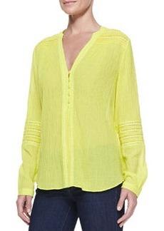 Diane von Furstenberg Gaylen Long-Sleeve Crochet-Band Top, Canary Yellow