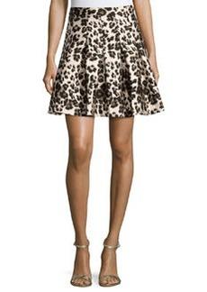 Diane von Furstenberg Gemma Cheetah-Print A-Line Skirt, Cream