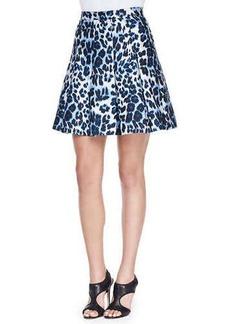 Diane von Furstenberg Gemma Leopard-Print Pleated Skirt