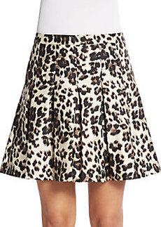 Diane von Furstenberg Gemma Pleated Leopard-Print Skirt