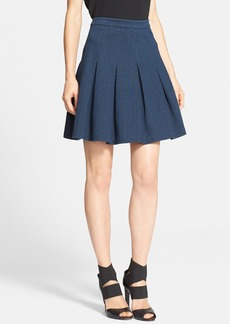 Diane von Furstenberg 'Gemma' Pleated Stretch Denim Skirt