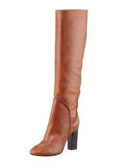 Diane von Furstenberg Genna Tall Leather Slouch Boot, Cognac