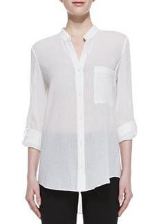 Diane von Furstenberg Gilmore Long Sleeve Translucent Blouse, White