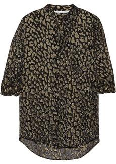 Diane von Furstenberg Gilmore silk-blend leopard-jacquard blouse