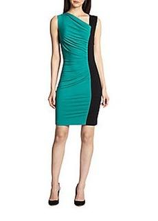 Diane von Furstenberg Gladys Asymmetrical Gathered Colorblock Dress